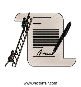 businesswoman climbing wooden stairs in a big contract document with pen and firm in pencils colored silhouette