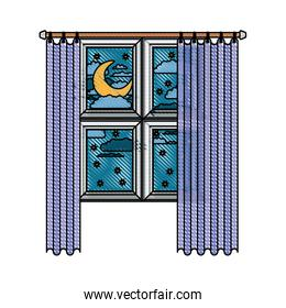 window with curtain and night landscape in color crayon silhouette on white background