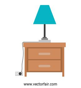 nightstand with lamp in colorful silhouette on white background