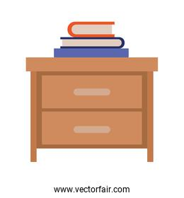 nightstand with stack books in colorful silhouette on white background