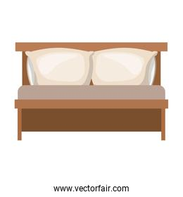 bed wooden with pillows in colorful silhouette on white background