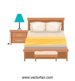 bedroom with lamp over nightstand in colorful silhouette on white background