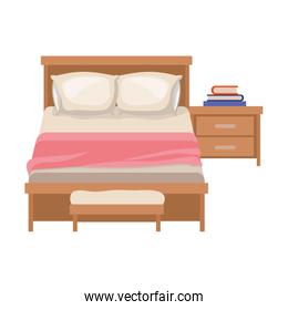 bedroom with books over nightstand in colorful silhouette on white background