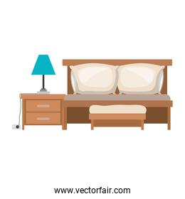 bedroom with sofa bed and lamp over nightstand in colorful silhouette on white background