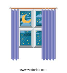 window with curtain and night landscape in colorful silhouette on white background
