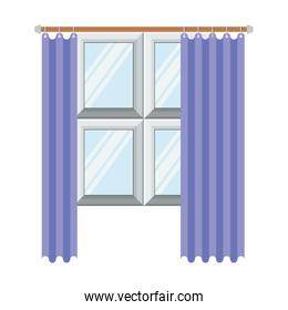 window in wooden with lilac curtain in colorful silhouette on white background