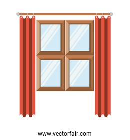 window in wooden with orange curtain in colorful silhouette on white background