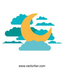 moon and clouds in night landscape in colorful silhouette on white background