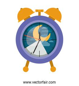 alarm clock with night moon landscape inside decorative in colorful silhouette on white background