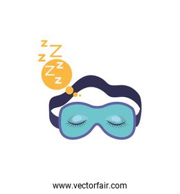 sleep mask with snoring sign in bubble callout in colorful silhouette on white background