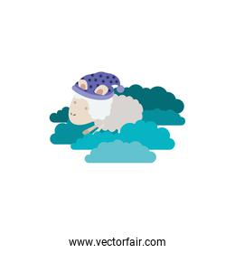 sheep animal with sleeping cap into the clouds in colorful silhouette on white background