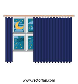big window with blue dark curtain and night landscape in colorful silhouette on white background