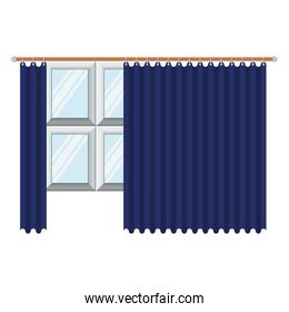big window with blue dark curtain in colorful silhouette on white background