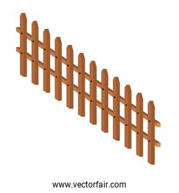 wooden fence large in colorful silhouette on white background