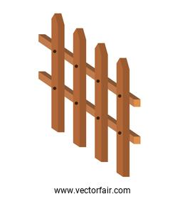 wooden fence small in colorful silhouette on white background
