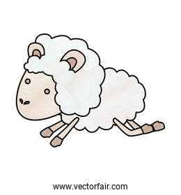 sheep animal jumping in color crayon silhouette on white background