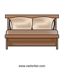 bed wooden with pillows in color crayon silhouette on white background