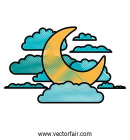 moon and clouds in night landscape in color crayon silhouette on white background