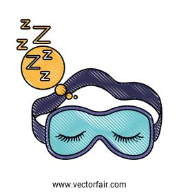sleep mask with snoring sign in bubble callout in color crayon silhouette on white background