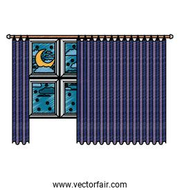 big window with blue dark curtain and night landscape in color crayon silhouette on white background