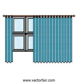 big window with blue dark curtain in color crayon silhouette on white background