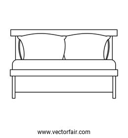 bed wooden with pillows sketch silhouette on white background