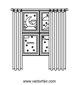 window with curtain and night landscape sketch silhouette on white background