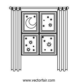 window in wooden with curtain and night landscape sketch silhouette on white background