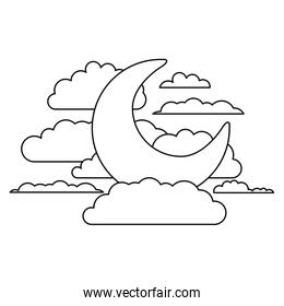 moon and clouds in night landscape sketch silhouette on white background