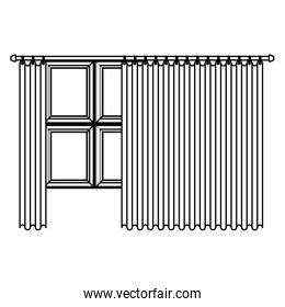big window with curtain sketch silhouette on white background