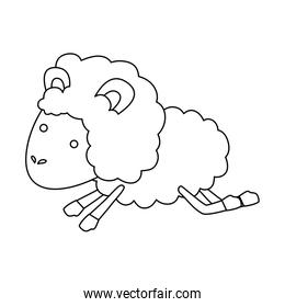 sheep animal jumping sketch silhouette on white background
