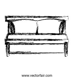 bed wooden with pillows blurred silhouette on white background