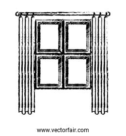 window in wooden with curtain blurred silhouette on white background