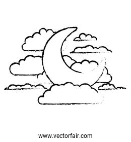 moon and clouds in night landscape blurred silhouette on white background
