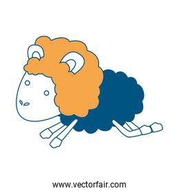 sheep animal jumping color section silhouette on white background