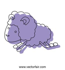 sheep animal jumping purple watercolor silhouette on white background