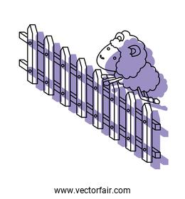 sheep animal jumping a wooden fence purple watercolor silhouette on white background