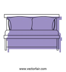bed wooden with pillows purple watercolor silhouette on white background