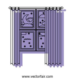 window with curtain and night landscape purple watercolor silhouette on white background