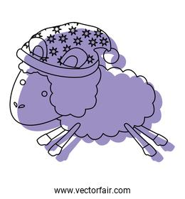 sheep animal with sleeping cap jumping purple watercolor silhouette on white background