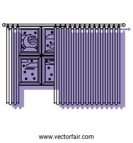 big window with curtain and night landscape purple watercolor silhouette on white background
