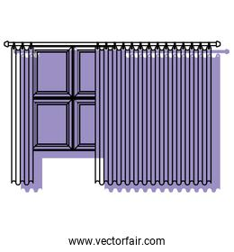 big window with curtain purple watercolor silhouette on white background