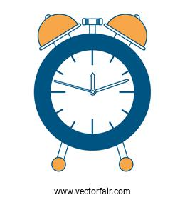 alarm clock color section silhouette on white background