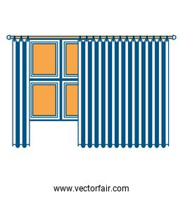 big window with curtain color section silhouette on white background