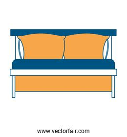 bed wooden with pillows color section silhouette on white background