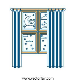 window with curtain and night landscape color section silhouette on white background