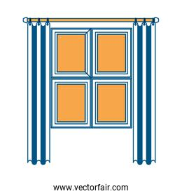 window in wooden with curtain color section silhouette on white background