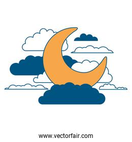 moon and clouds in night landscape color section silhouette on white background