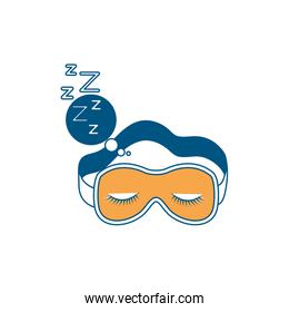 sleep mask with snoring sign in bubble callout color section silhouette on white background