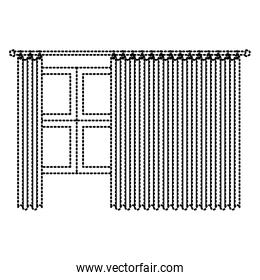 big window with curtain dotted silhouette on white background